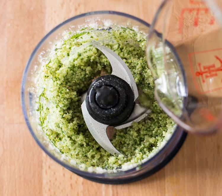 Adding olive oil to Pesto Sauce
