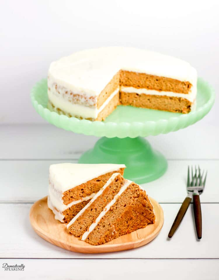 Carrot Spice cake on a green cake stand