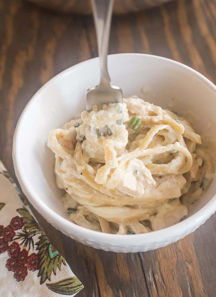 Fettuccine with Chicken in a creamy sauce