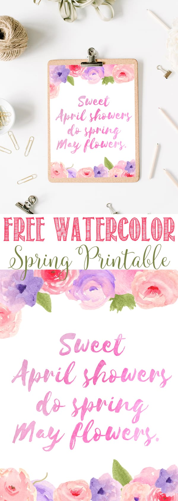 Free Watercolor Spring Flowers Printables | Spring Posey flowers | Spring Pink and Purple Printable
