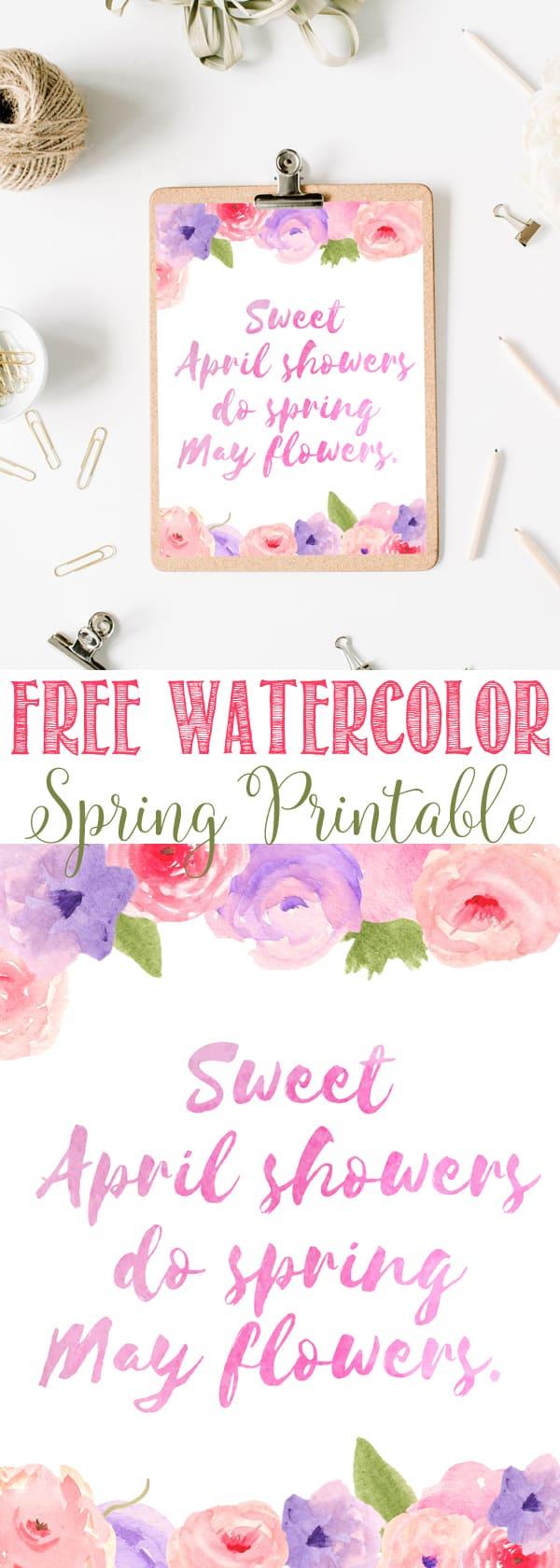 Free Watercolor Spring Flowers Printables | Spring Posey flowers | Spring Pink and Purple Printable