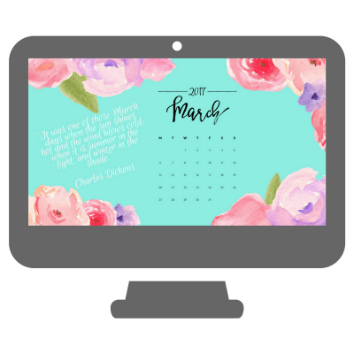 March Watercolor Desktop Calendar Wallpaper