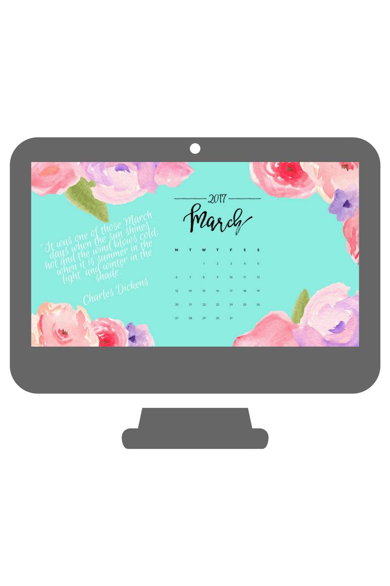 March Watercolor Desktop Calendar Wallpaper