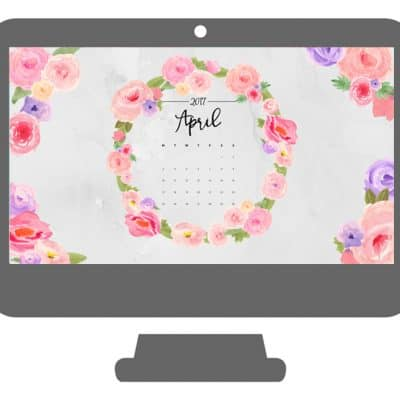 April Calendar Wallpaper with Watercolor Wreath
