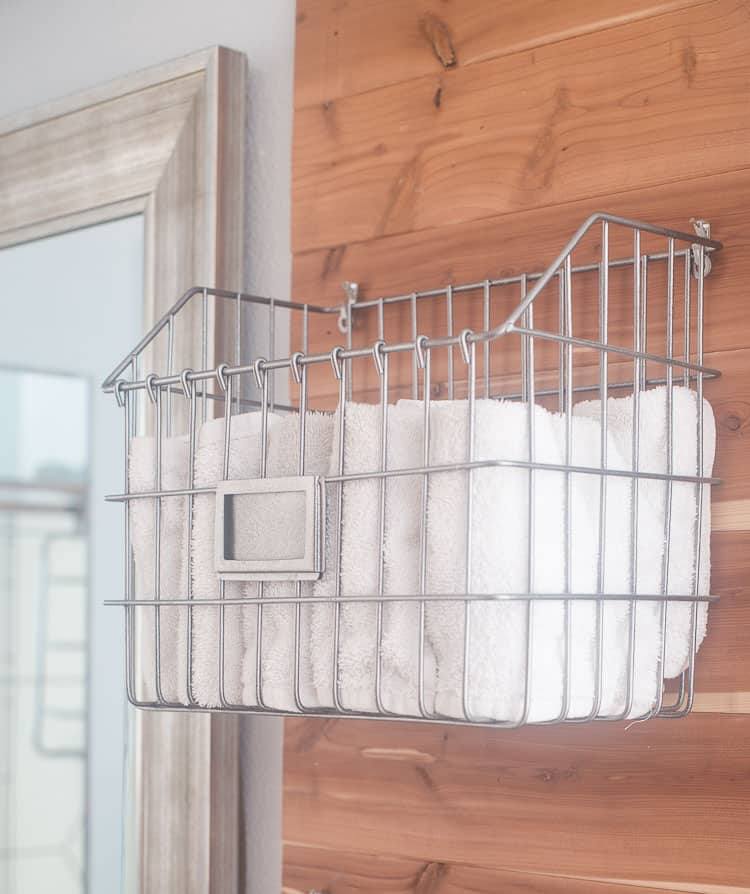 Industrial baskets that can hang on the wall perfect for a farmhouse feel