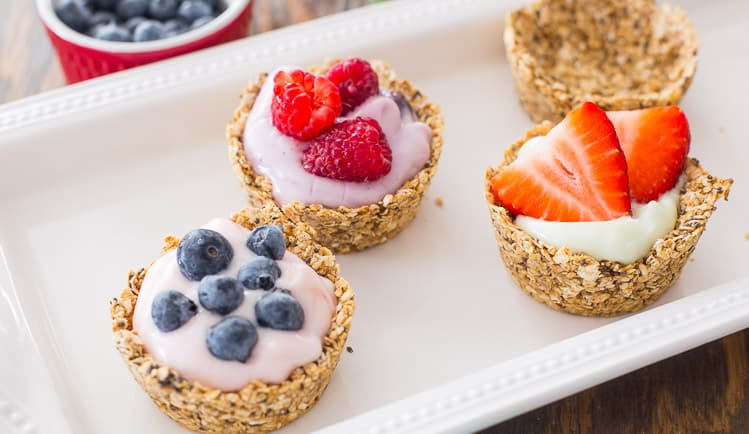 Oatmeal Cups with yogurt and fruit perfect for brunch