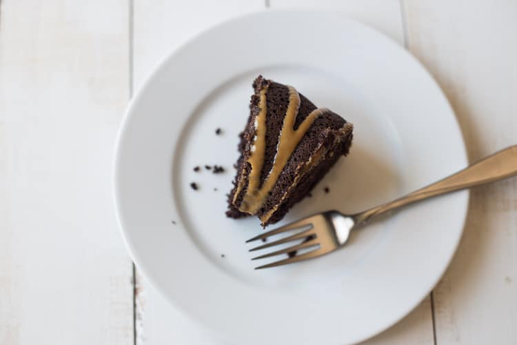 peanut butter chocolate cake ready to eat