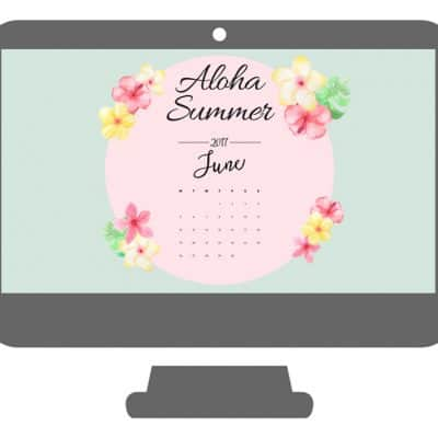 Aloha Summer June Desktop Wallpaper Calendar