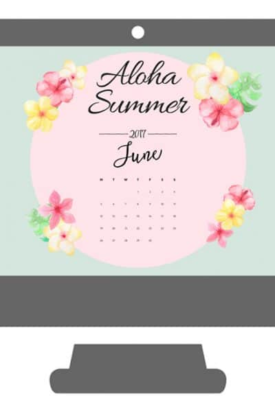 Aloha Summer June Desktop Wallpaper Calendar