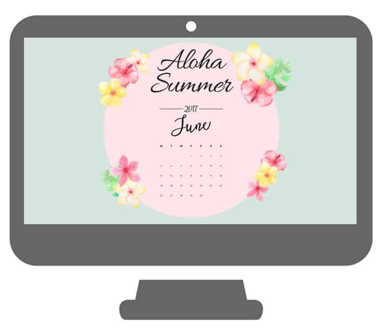 Aloha Summer Desktop Wallpaper with a June Calendar