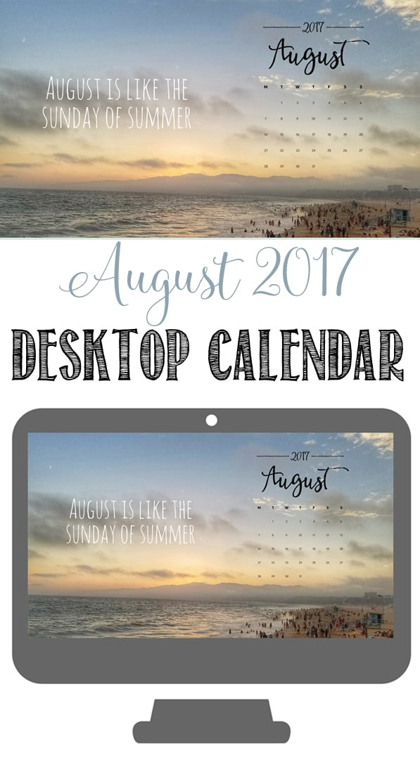 August Desktop Calendar Wallpaper | End of Summer | Santa Monica Pier
