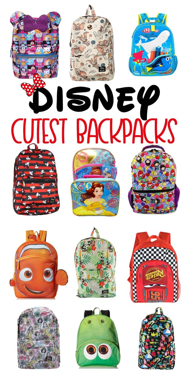 Some of the cutest Disney Backpacks. Backpacks with lunch pails, rolling backpacks, and more.