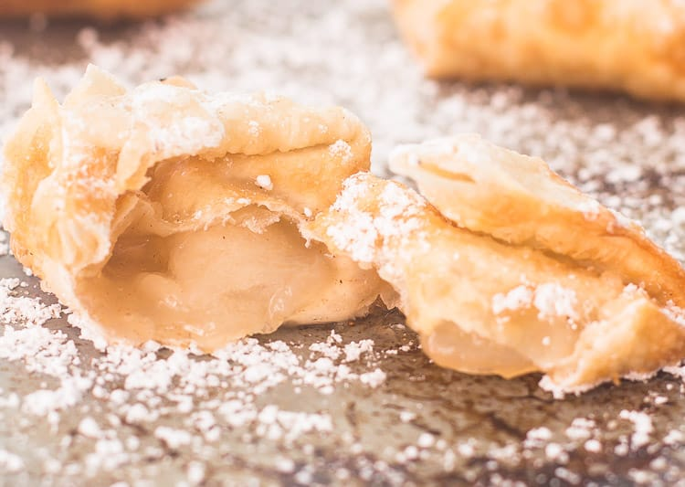 Apple Pie Wontons with cinnamon sugar and powdered sugar