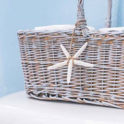 DIY Painted Toilet Paper Basket