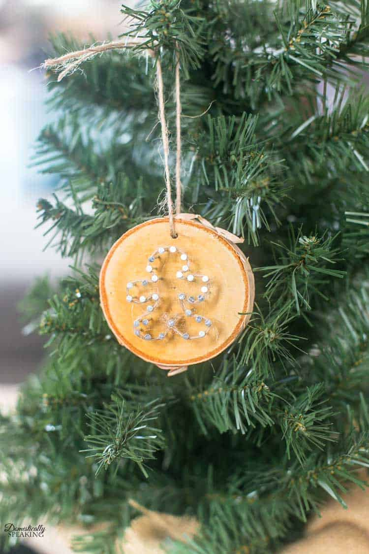 Rustic Twine and Wood Slice Christmas Ornament