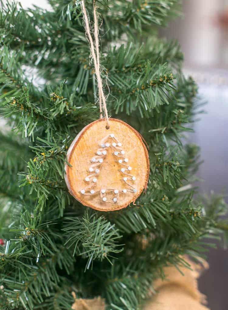 Rustic Twine Wood Slice Christmas Ornaments - Domestically ...