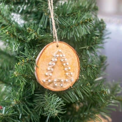 Rustic Twine Wood Slice Christmas Ornaments