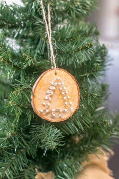 Rustic Twine Wood Slice Christmas Ornaments