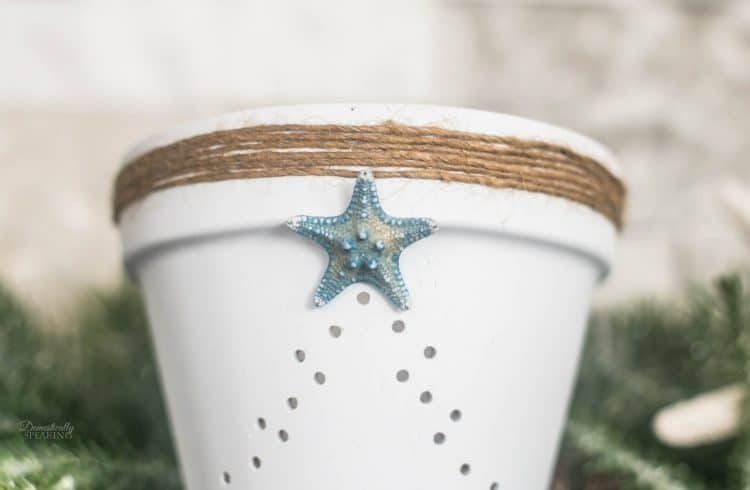 Coastal Terra Cotta Christmas Tree Lantern | DIY Pot Lantern