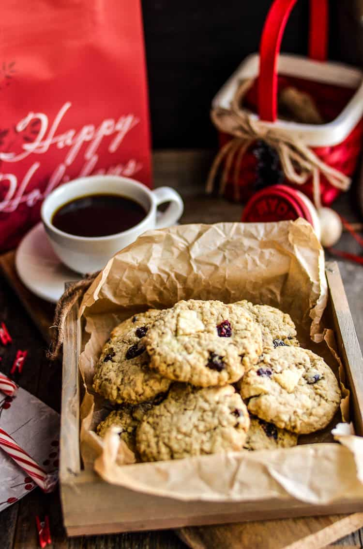 Cranberry White Chocolate Oatmeal Cookies for Christmas
