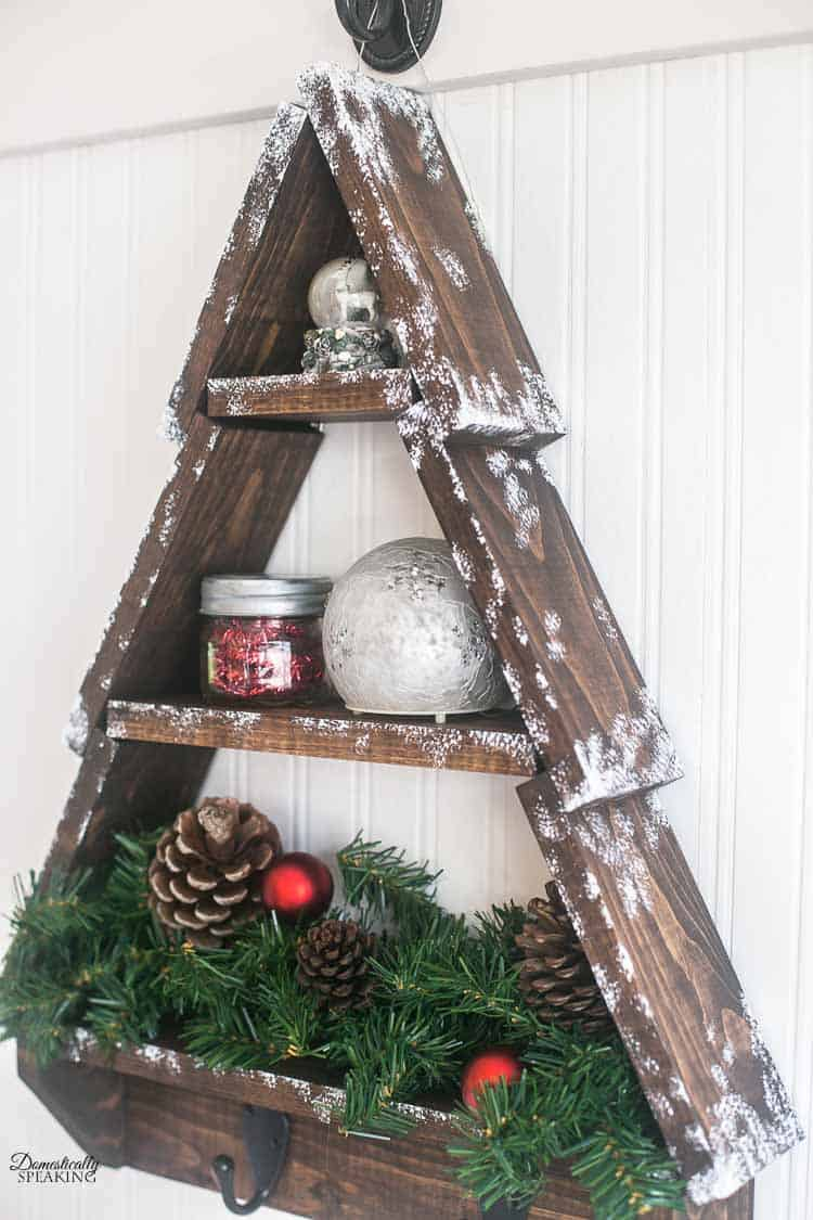 diy snowy rustic christmas tree shelf domestically speaking. Black Bedroom Furniture Sets. Home Design Ideas