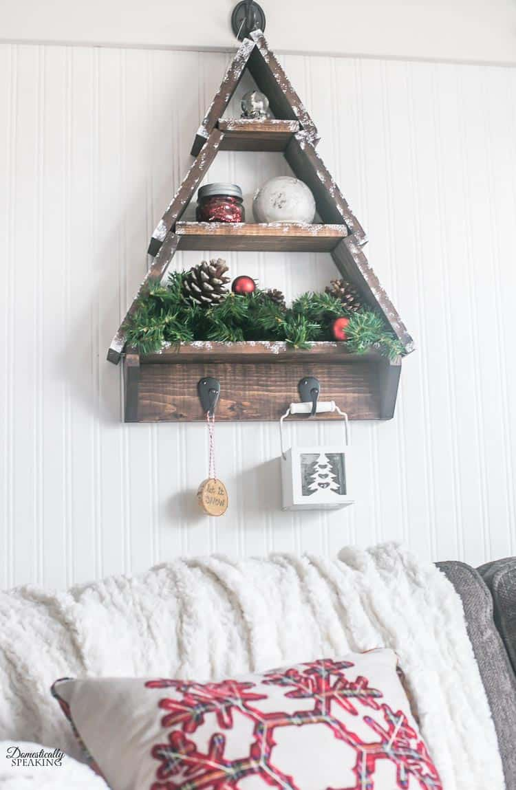 Diy Snowy Rustic Christmas Tree Shelf Domestically Speaking