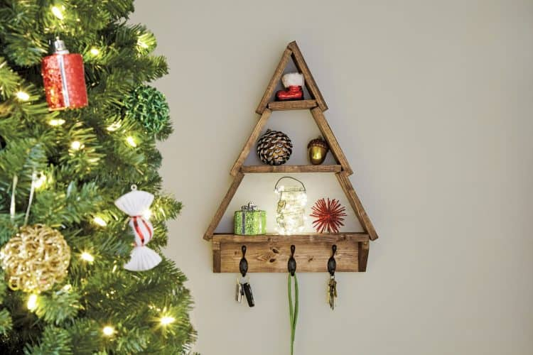 Holiday Tree Shelf with DIY Home Depot - Domestically Speaking