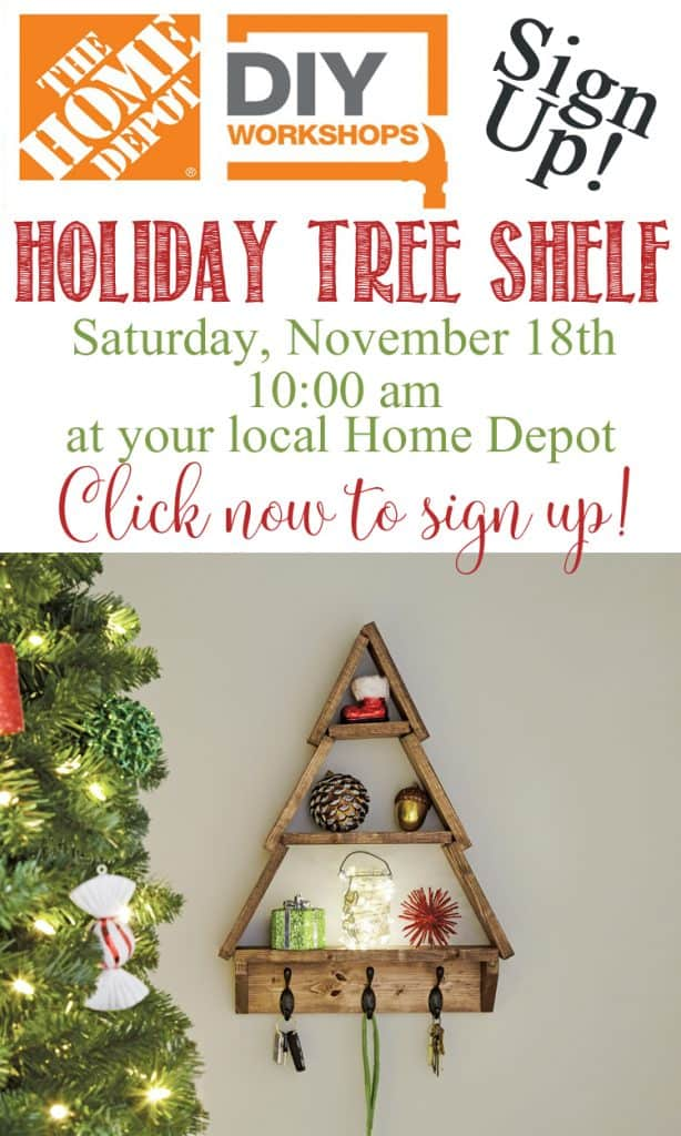 Diy snowy rustic christmas tree shelf domestically speaking save solutioingenieria Image collections