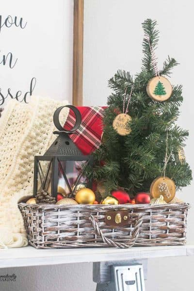 Thrift Store Painted Christmas Decor Basket