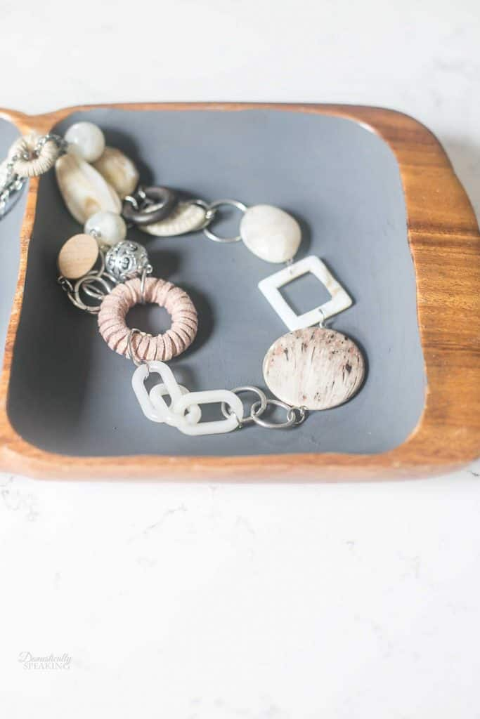 Thrift Store Jewelry Tray Makeover - wood and dark gray paint