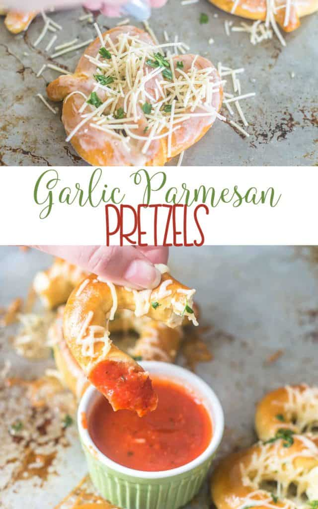 Garlic Parmesan Pretzels - great after school snack, appetizer  - delicious with marinara sauce
