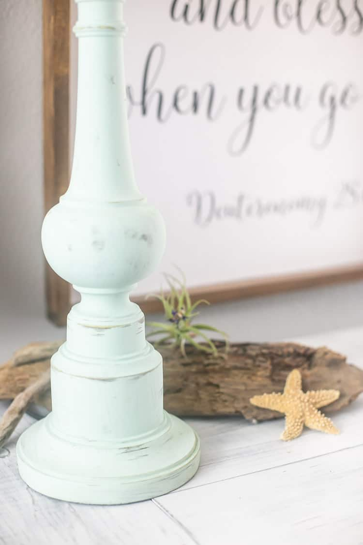Milk Painted Thrift Store Lamp to create a beach makeover - looks like sea foam green