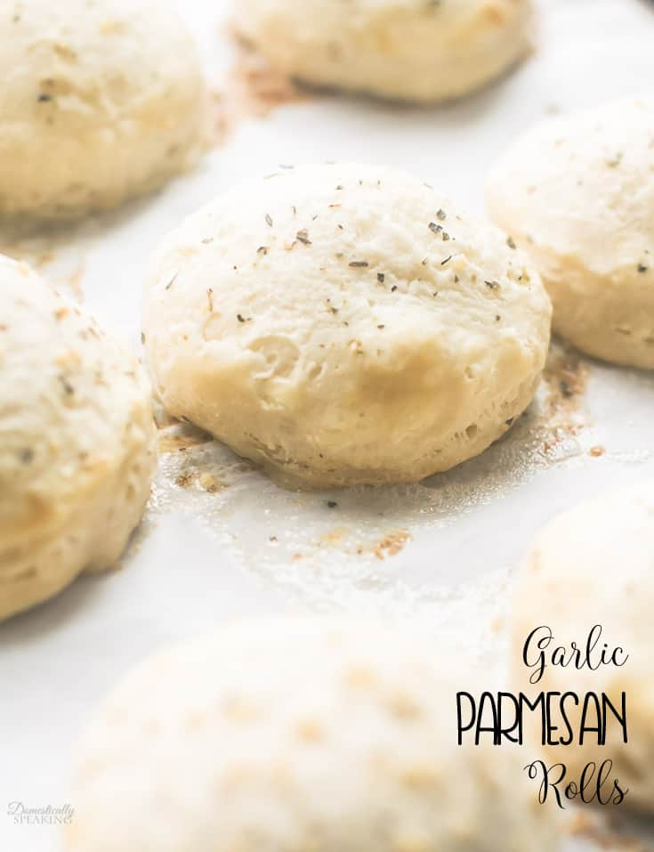 Easy Garlic Parmesan Rolls for those busy weeknight dinners!  Takes just minutes to make.