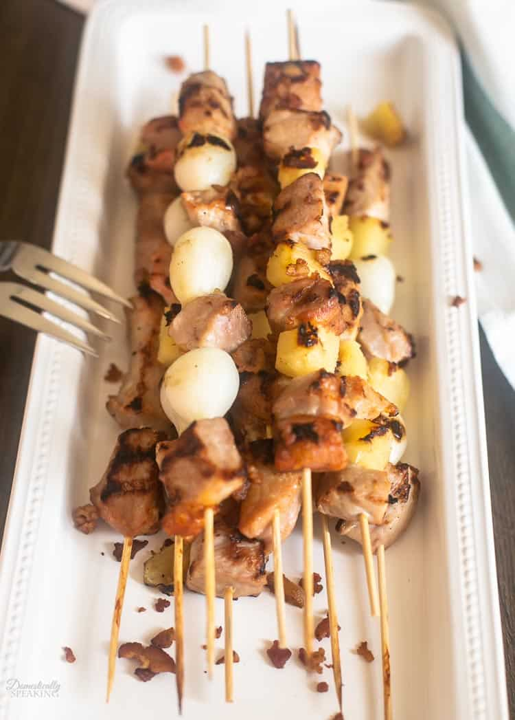 Hawaiian Pork Kabobs recipe with pineapples and pearl onions - perfect summer grilling recipe