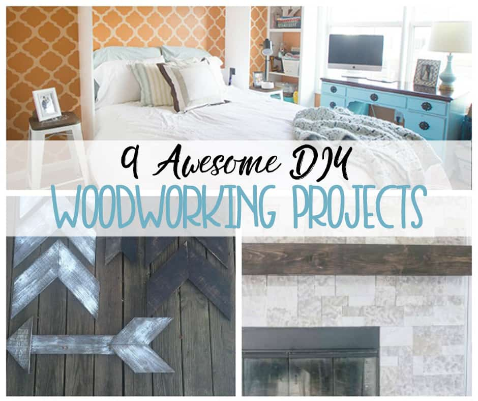 woodworking projects such a bed, arrows and a rustic mantel