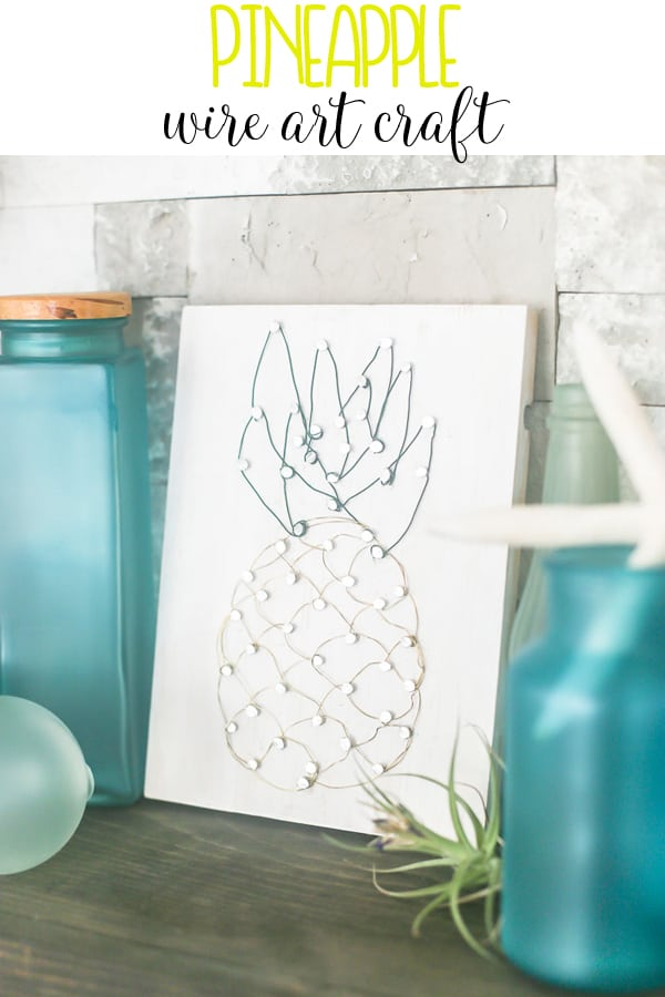 This DIY Pineapple Wire Art is the perfect craft to share with you as I've just returned from Hawaii.  A great spin on string art with a fun, metallic look.