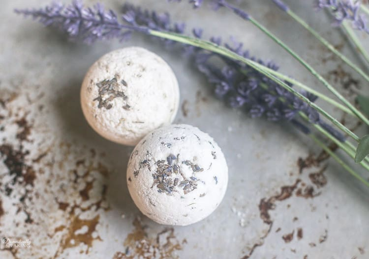 DIY Lavender Bath Bombs are simple to make with this great recipe. Homemade bath bombs make a great gift and you can easily change the scent too.