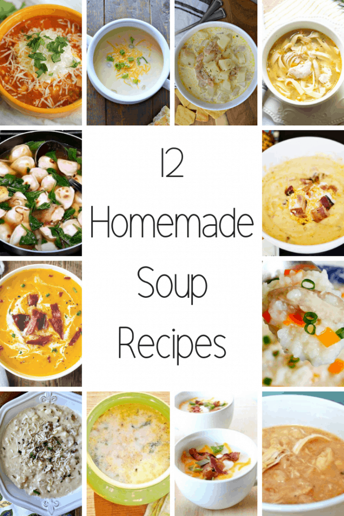 12 Delicious Homemade Soup Recipes that are perfect for the fall and winter months. Lots of great potato and chicken soup recipes.