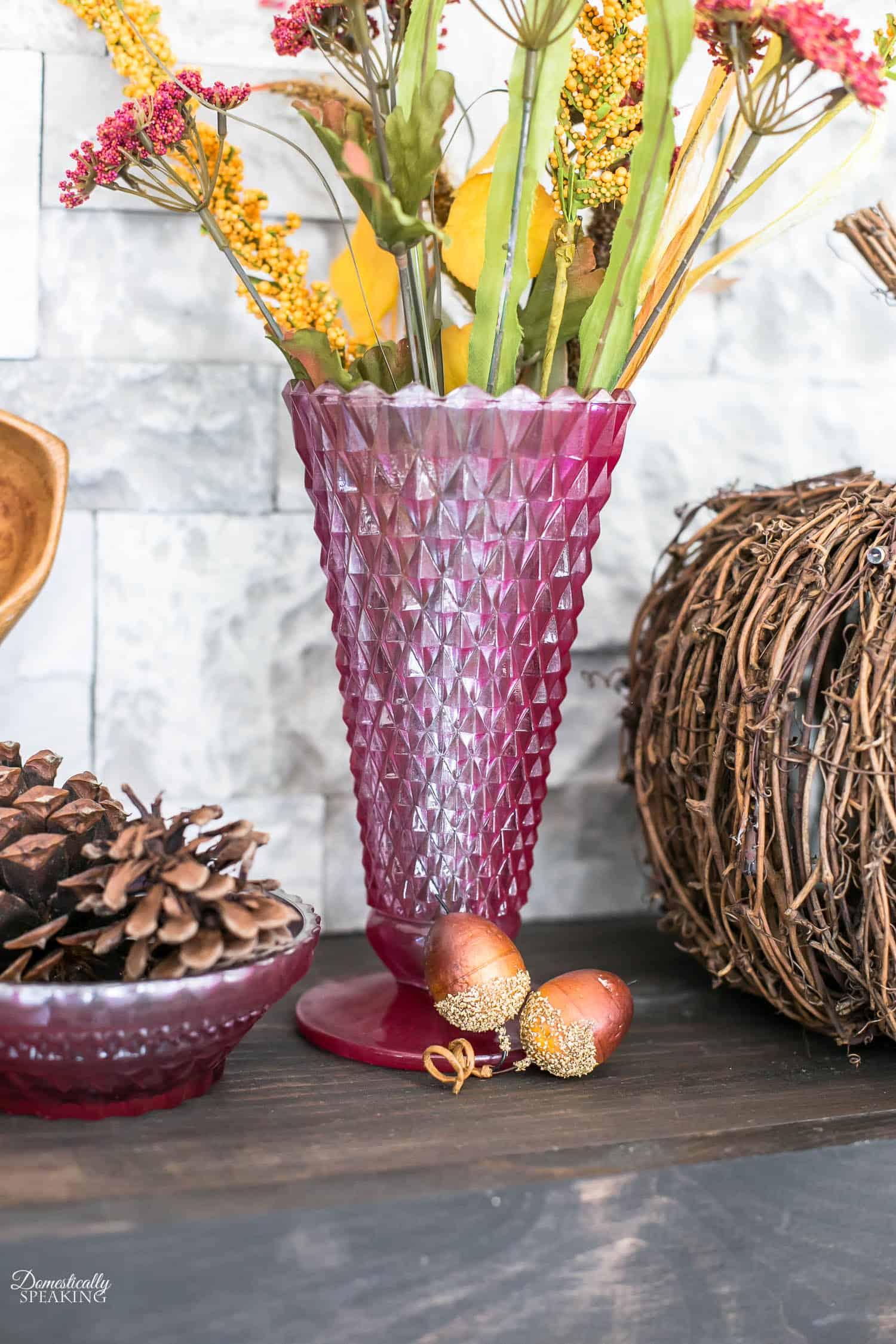 DIY Copper and Burgundy Mercury Glass