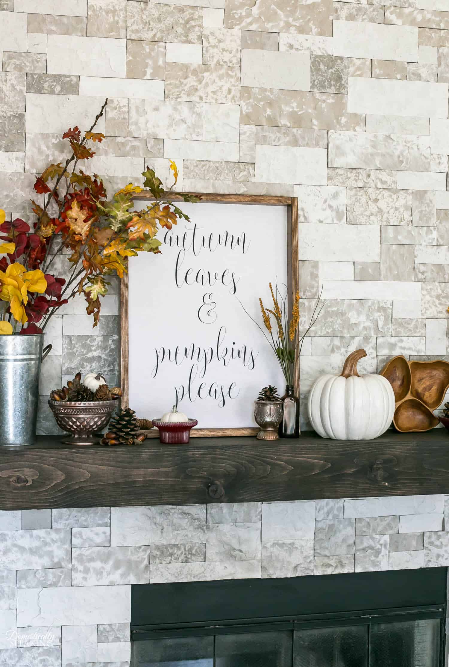 Autumn Mantel with DIY Sign, Thrift Store makeovers and White Pumpkins
