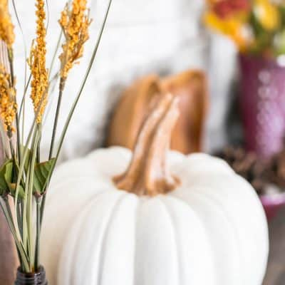 Fall Leaves and Pumpkins Please Fall Mantel