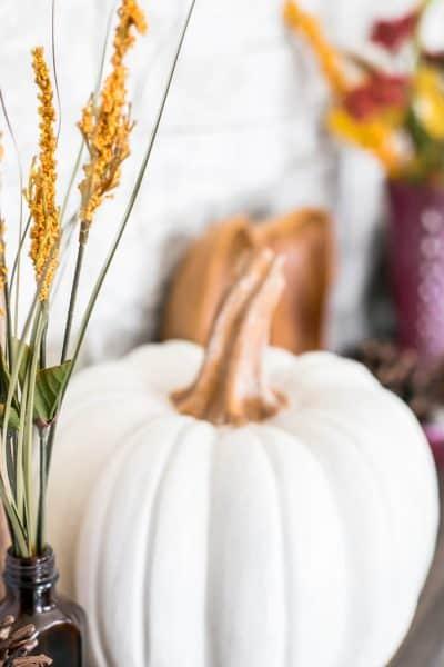 Fall Leaves and Pumpkins Please Fall Mantel