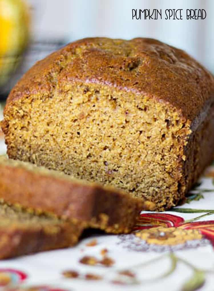 Pumpkin Spice Bread! All the flavors of fall with this pumpkin bread recipe.  It's loaded with pumpkin, cinnamon, nutmeg and cloves.