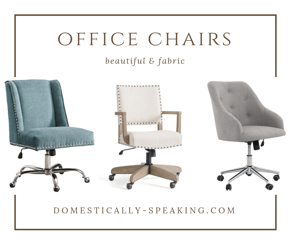 Fabric Office Chairs in creamy whites, teals and grays! Velvets, nailhead trim and tufted office chairs.