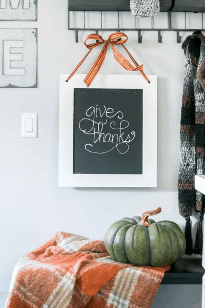 Repurposed Cabinet Door Chalkboard Sign for Fall