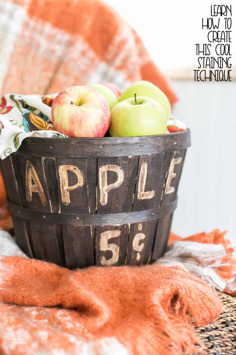 Thrift store apple basket transformed with stain and a cool technique.  Get all the detail on how to do this easy stain technique yourself to create fun stain projects.