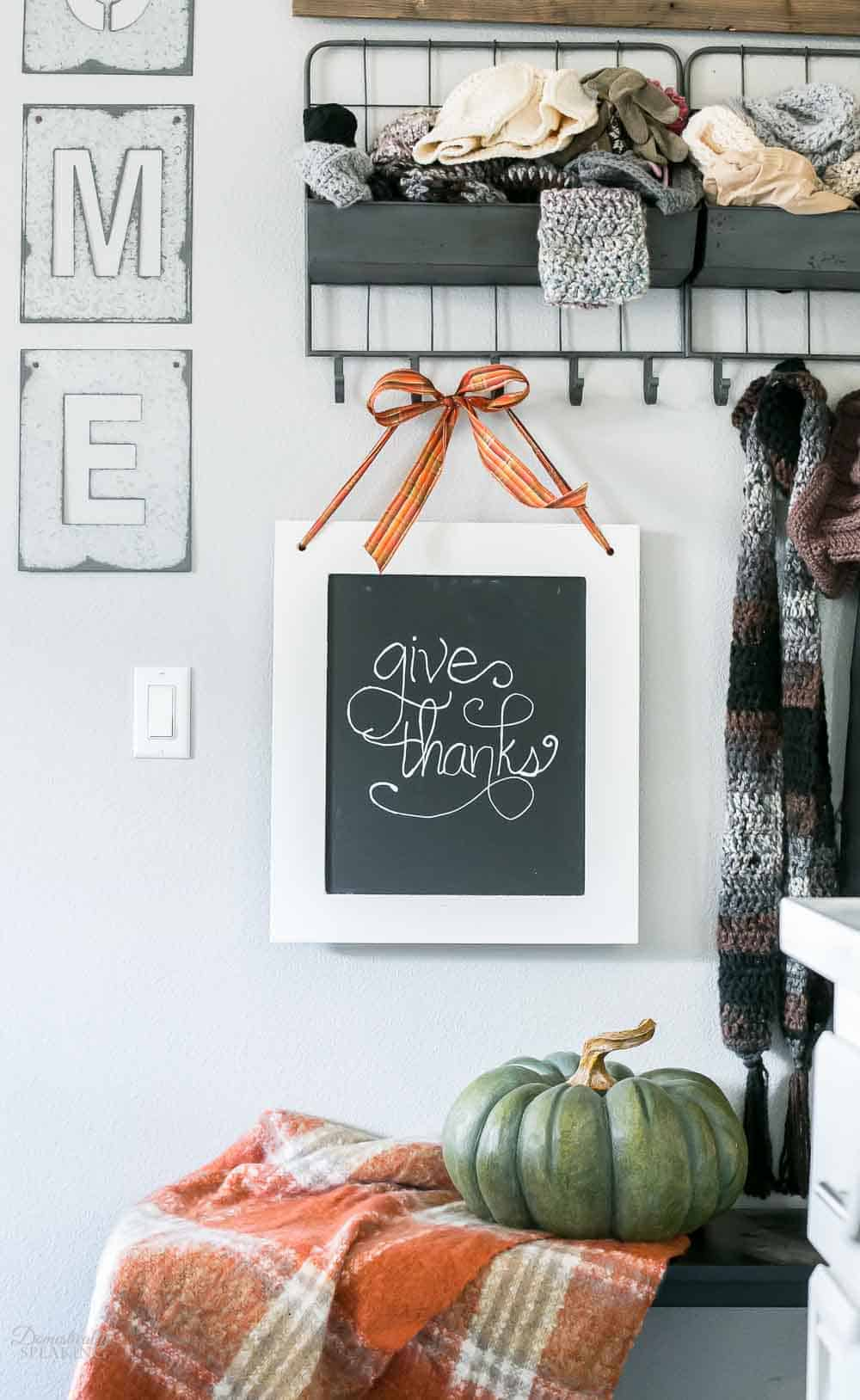 Repurpose a cabinet door into a Chalkboard Sign for fall - all the details how to make your own here!