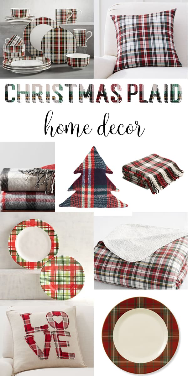 Christmas Plaid Home Decor - plaid pillows, plaid throws and plaid dinnerware