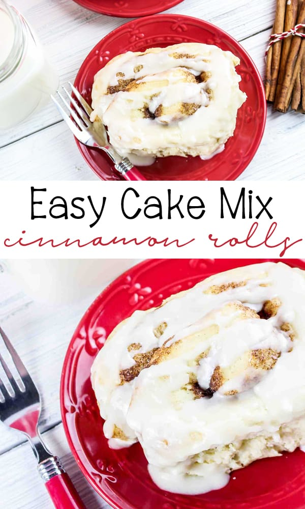 Cake Mix Cinnamon Rolls are a great, easy recipe for a family favorite cinnamon roll that is perfect for a weekend breakfast!