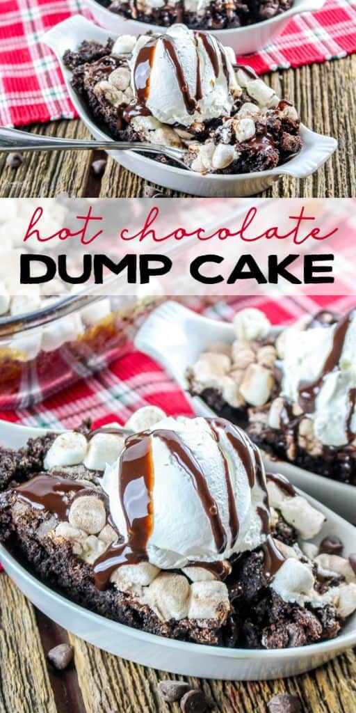 Hot Chocolate Dump Cake is a favorite for any chocolate lover! This easy chocolate cake topped with marshmallows is perfect during the holidays or anytime of year!